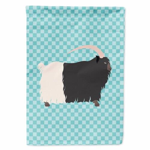 Welsh Black-Necked Goat Blue Check Flag Garden Size Perspective: front