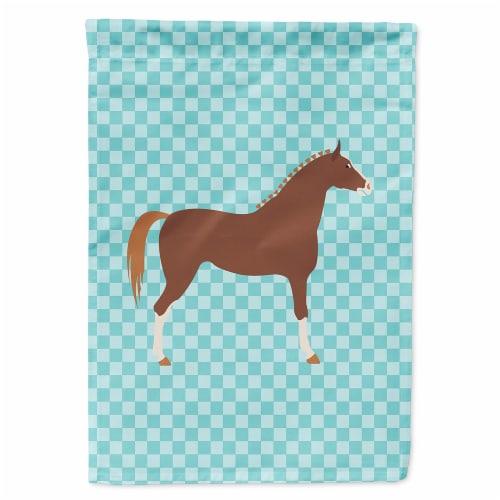 Carolines Treasures  BB8083GF Hannoverian Horse Blue Check Flag Garden Size Perspective: front