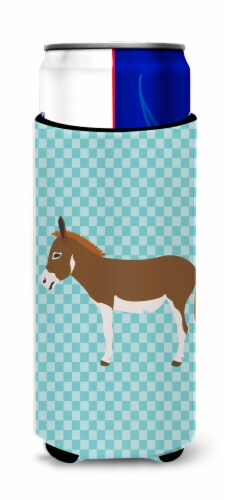 Miniature Mediterranian Donkey Blue Check Michelob Ultra Hugger for slim cans Perspective: front