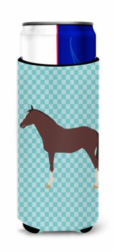 English Thoroughbred Horse Blue Check Michelob Ultra Hugger for slim cans Perspective: front