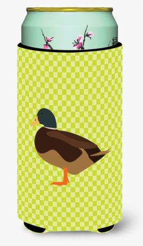 Silver Bantam Duck Green Tall Boy Beverage Insulator Hugger Perspective: front