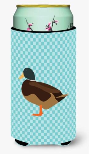 Silver Bantam Duck Blue Check Tall Boy Beverage Insulator Hugger Perspective: front