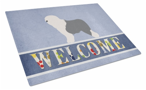 Old English Sheepdog Bobtail Glass Cutting Board Large Perspective: front