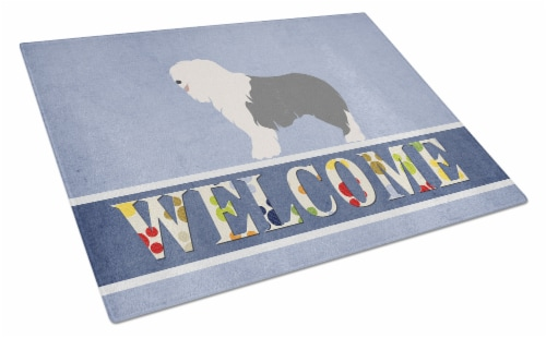 Old English Sheepdog Welcome Glass Cutting Board Large Perspective: front
