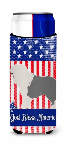 Old English Sheepdog American Michelob Ultra Hugger for slim cans Perspective: front