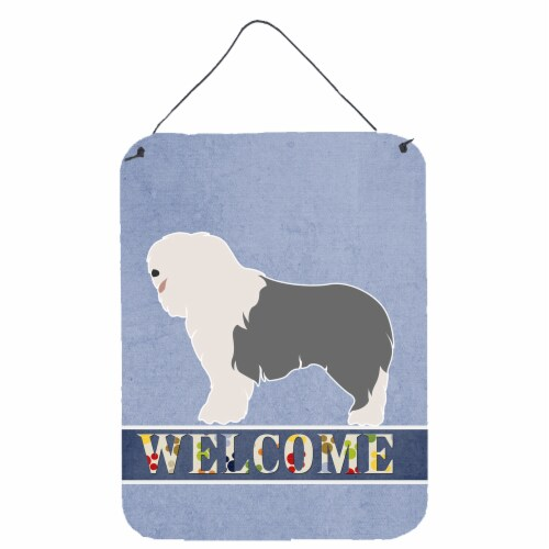 Old English Sheepdog Welcome Wall or Door Hanging Prints Perspective: front