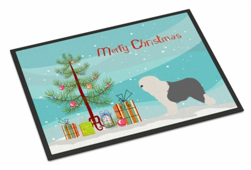 Old English Sheepdog Bobtail Christmas Indoor or Outdoor Mat 24x36 Perspective: front