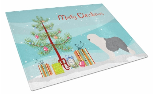 Old English Sheepdog Bobtail Christmas Glass Cutting Board Large Perspective: front
