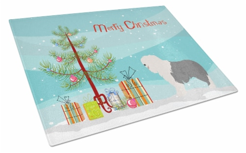 Old English Sheepdog Christmas Glass Cutting Board Large Perspective: front