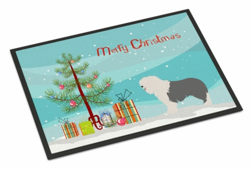 Old English Sheepdog Christmas Indoor or Outdoor Mat 18x27 Perspective: front