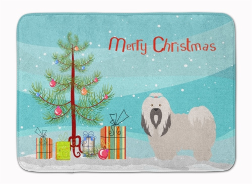 Lhasa Apso Christmas Machine Washable Memory Foam Mat Perspective: front