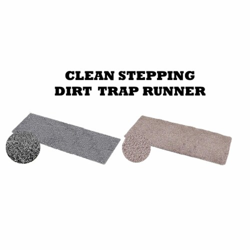 Clean Stepping Dirt Trap Runner Gray Perspective: front