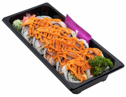 Snowfox Spicy California Roll (NOT AVAILABLE BEFORE 11:00 AM DAILY) Perspective: front