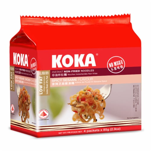 Koka Delight Spice Sesame Flavor Steamed & Baked Instant Non-Fried Noodles Perspective: front