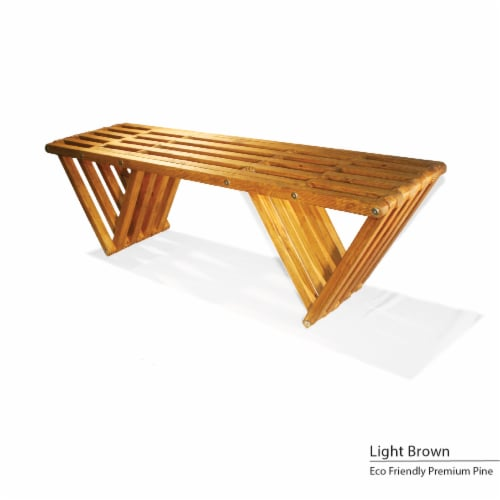 GloDea Bench X60, Light Brown Perspective: front