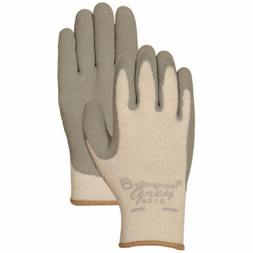 Lfs Glove C4510M Medium Grey Latex Palm Insulated Dip Gloves Perspective: front