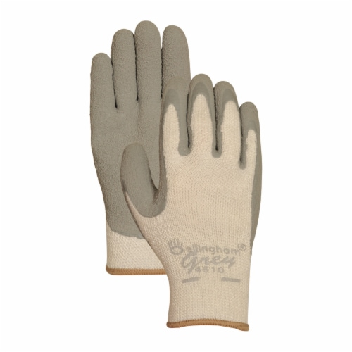 Lfs Glove C4510L Large Grey Latex Palm Insulated Dip Gloves Perspective: front