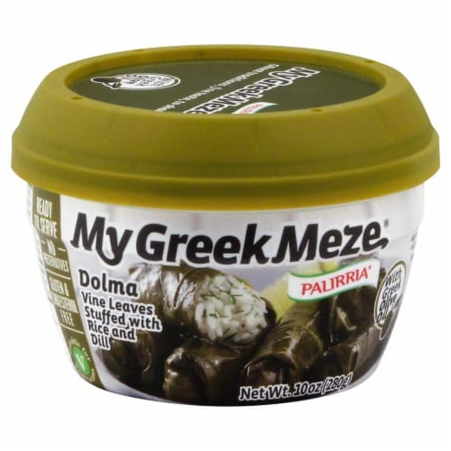 Palirria My Greek Meze Dolma Rice and Dill Stuffed Vine Leaves Perspective: front