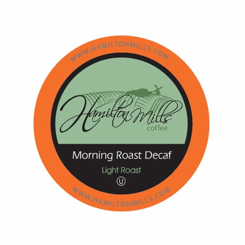 Hamilton Mills Morning Roast Decaf Coffee Pods, 2.0 Keurig K-Cup Brewer Compatible, 40 Count Perspective: front