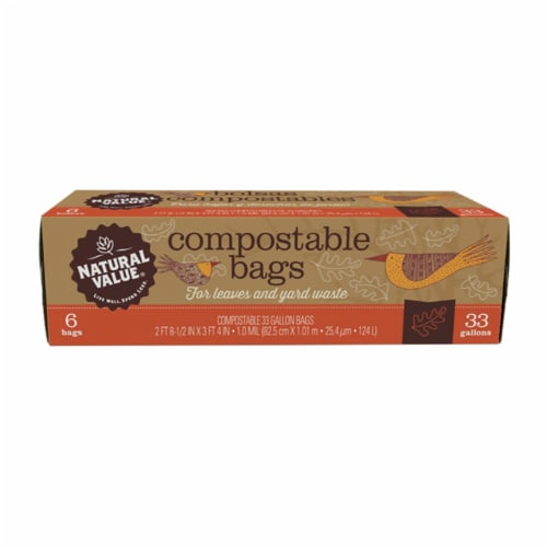Natural Value 33-gallon Compostable Trash Bags / 6 PACK / 36-ct. Perspective: front