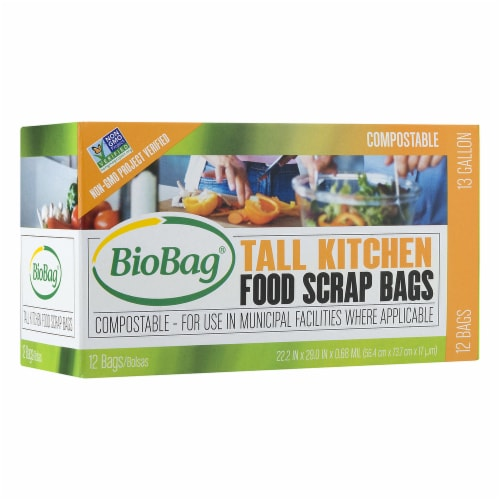 BioBag 13-gl. Tall Kitchen Trash Bags / 6 Pack / 72-ct. Perspective: front