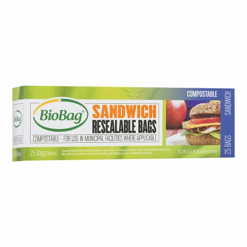 BioBag Resealable Sandwich Bags / 6 PACK / 150-ct. Perspective: front