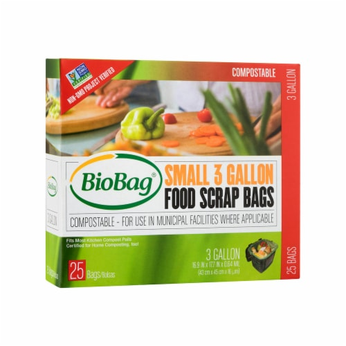 BioBag 3-gallon Small Food Scrap Bags / 25-ct. boxes / 6-Pack Perspective: front