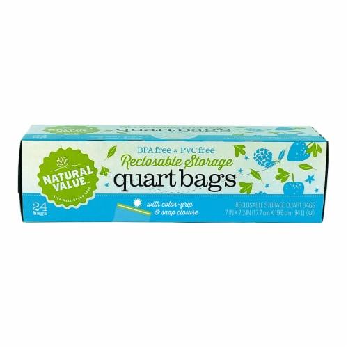 Natural Value Color Grip Quart Storage Bags / 6-Pack / 144-ct. Perspective: front