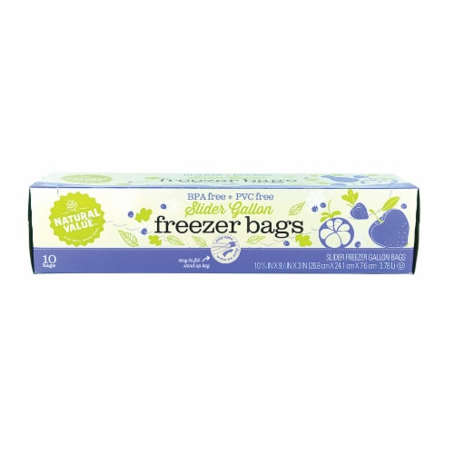 Natural Value Slider Gallon Freezer Bags / 10-ct. boxes / 6 Pack Perspective: front