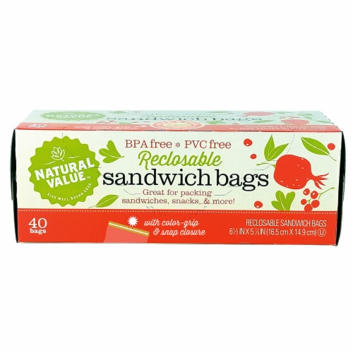 Natural Value Color Grip Reclosable Sandwich Bags / 6-Pack / 240-ct. Perspective: front