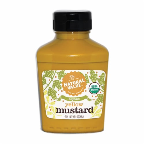 9-oz. Natural Value Organic YELLOW Mustard / 12-ct. case Perspective: front