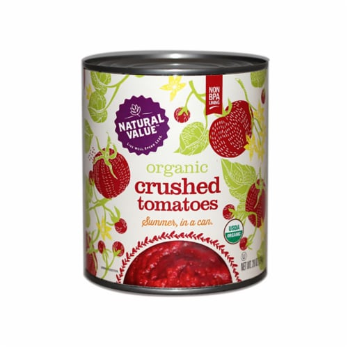 Natural Value 28-oz. Organic CRUSHED Tomatoes / 6-pack Perspective: front