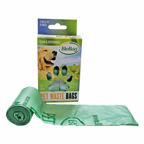 BioBag ROLL Compostable Pet Waste Bags / 45-ct. rolls / 6 Pack / 270-ct. Perspective: front