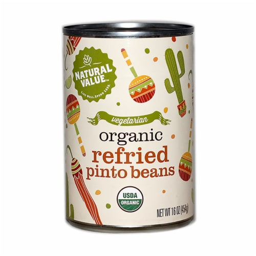 Natural Value Organic Refried Pinto Beans / 16-oz. cans / 6-pack Perspective: front