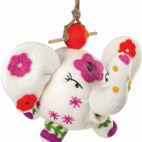Wild Woolies Handmade & Fair Trade Felt Birdhouse - Flower Power Patty Perspective: front