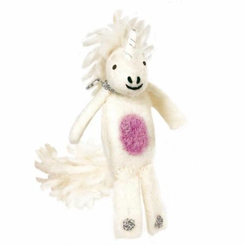 Wild Woolies DZI482051000-219054 Handmade & Fair Trade Woolie Finger Puppet - Unicorn Perspective: front