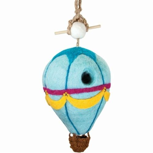 Wild Woolies Handmade & Fair Trade Felt Birdhouse - Hot Air Balloon Perspective: front