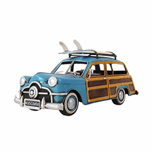 Old Modern Handicrafts AJ018 1949 Green Ford Wagon Car with Two Surfboards Model Airplane Perspective: front