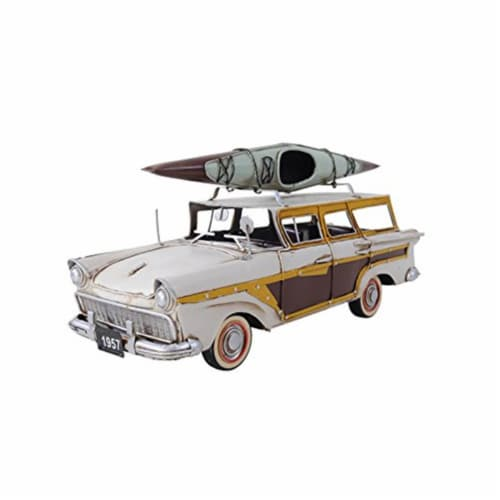 Old Modern Handicrafts AJ019 Fords Woody-Look Country Squire with Kayak Model Airplane Perspective: front