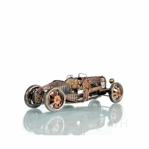 Old Modern Handicrafts AJ088 1924 Bugatti Type 35 Open Frame Car Model - 15.25 x 5 x 4 in. Perspective: front