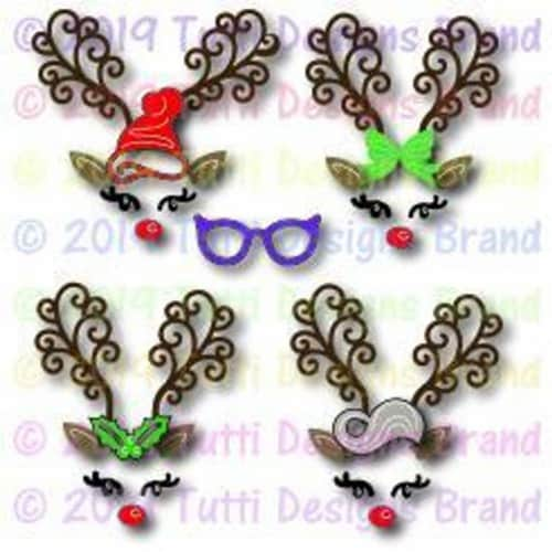 Tutti Designs - Dies - Build A Reindeer Face Perspective: front
