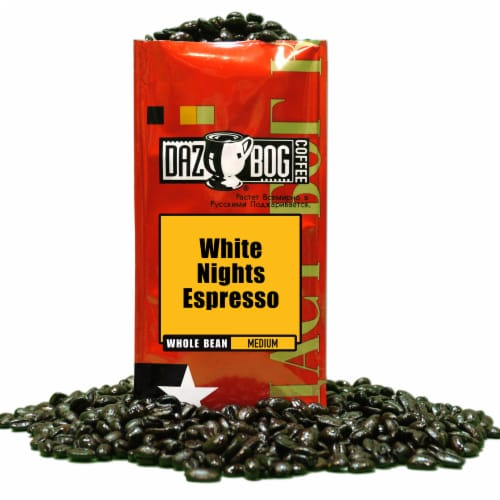 Dazbog White Nights Espresso Medium Whole Bean Coffee Perspective: front