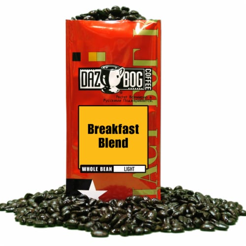 Dazbog Breakfast Blend Light Whole Bean Coffee Perspective: front