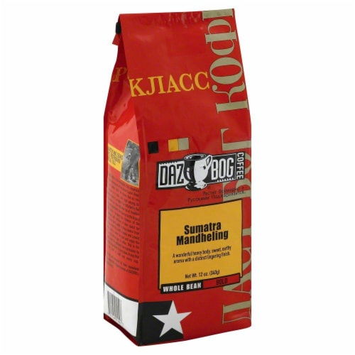 Dazbog Coffee Sumatra Mandheling Whole Bean Coffee Perspective: front