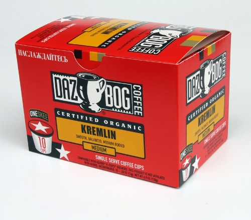 Dazbog Organic Kremlin Single Serve Coffee Pods Perspective: front