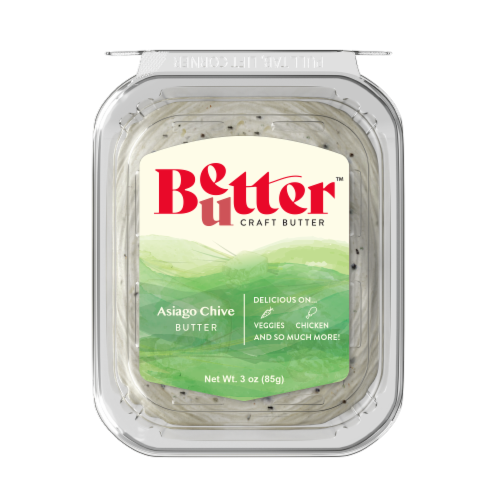Chef Shamy Fresh Churned Asiago & Chive Gourmet Butter Perspective: front