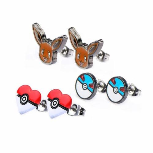 Pokemon Eevee & Pokeballs Stud Earrings, Set of 3 Perspective: front