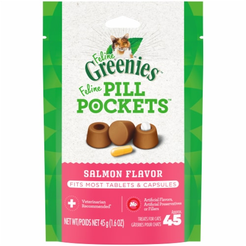 Greenies  Feline Pill Pockets   Salmon Perspective: front
