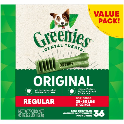 Greenies Original Regular Dog Dental Treats Value Pack Perspective: front
