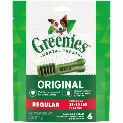Greenies Original Regular Size Dog Dental Treats 6 Count Perspective: front